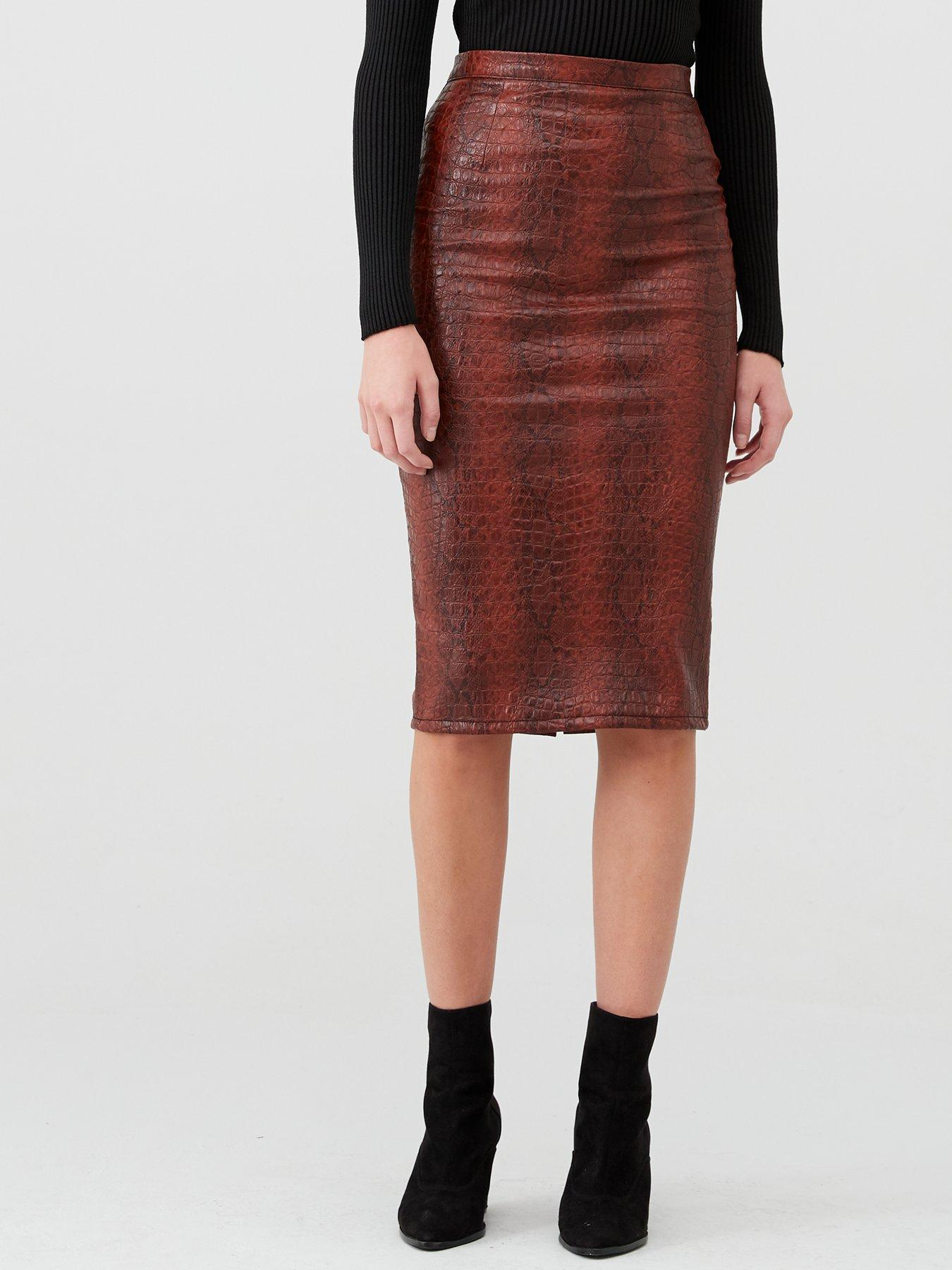New Ladies Women Pull On Front Slit Pencil Skirt Plus Sizes 12-22