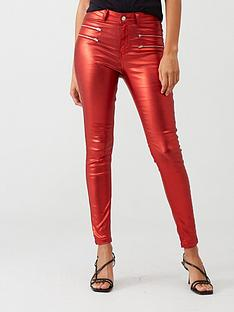 v-by-very-ella-high-waisted-coated-zip-detail-skinny-jean-red