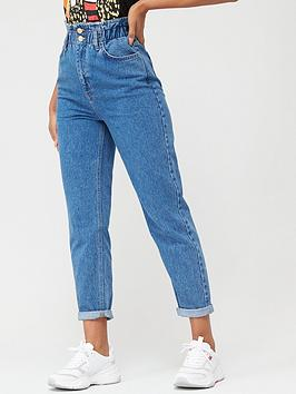 v-by-very-paperbag-waist-mom-jeans-mid-wash