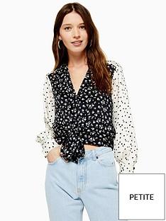 topshop-petite-mix-and-match-tie-front-blouse-monochrome