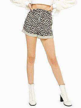 topshop-leopard-paperbag-denim-shorts-multi