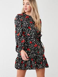 ax-paris-floral-frill-hem-dress-black