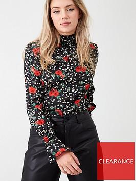 ax-paris-floral-high-neck-top-black