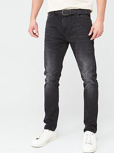 very-man-belted-skinny-washed-jeans-black