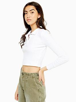 topshop-long-sleeve-button-front-polo-shirt-white