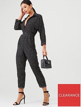 ax-paris-spot-print-belted-jumpsuit-black