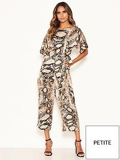 ax-paris-petite-snake-print-belted-jumpsuit-stone