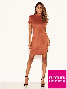 ax-paris-petite-faux-suede-high-neck-mini-dress-rust
