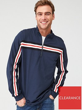 v-by-very-quarter-zip-taped-long-sleeved-t-shirt-navy