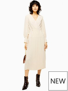 topshop-topshop-pleated-wrap-dress-cream