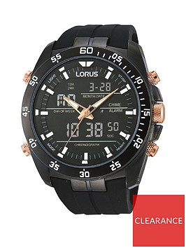 lorus-lorus-black-and-rose-gold-detail-chronograph-and-digital-dial-black-silicone-strap-mens-watch