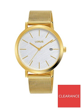lorus-lorus-white-textured-date-dial-gold-stainless-steel-mesh-strap-watch