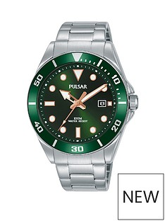pulsar-pulsar-green-sunray-and-rose-gold-detail-date-dial-stainless-steel-bracelet-mens-watch