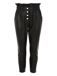 river-island-girls-faux-leather-paperbag-trousers-black