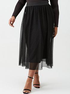 v-by-very-curve-tulle-mesh-spot-skirt-black