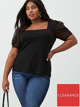 v-by-very-curve-puff-sleeve-organza-tee-black