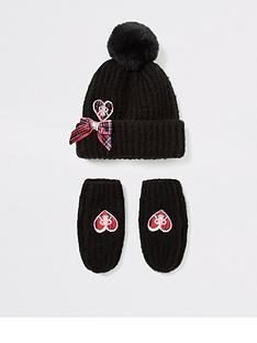 river-island-mini-mini-girls-beanie-hat-and-mitten-set-black