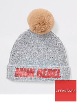 river-island-mini-mini-boys-mini-rebel-faux-fur-pom-beanie-grey