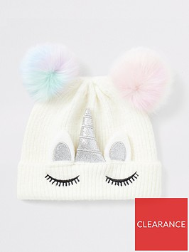 river-island-mini-mini-girls-unicorn-faux-fur-pom-beanie-hat-white