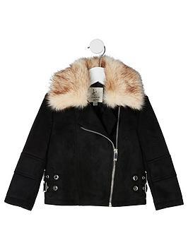 river-island-mini-mini-girls-suedette-aviator-jacket--black