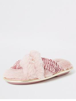 river-island-girls-faux-fur-cross-over-mule-slippers-pink