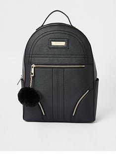 river-island-river-island-double-zip-pom-large-backpack-black