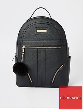river-island-river-island-double-zip-pom-large-backpack-black