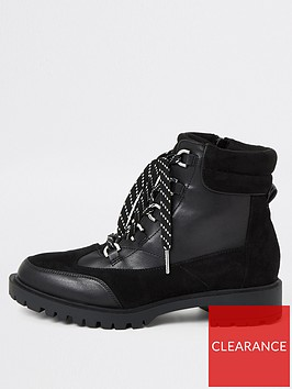 river-island-lace-up-hiker-boot-black