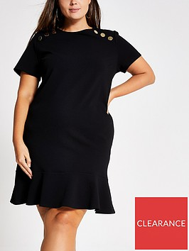 ri-plus-ri-plus-short-sleeved-button-detail-dress-black