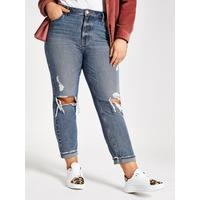 RI Plus Ripped Mom Jean- Mid Blue