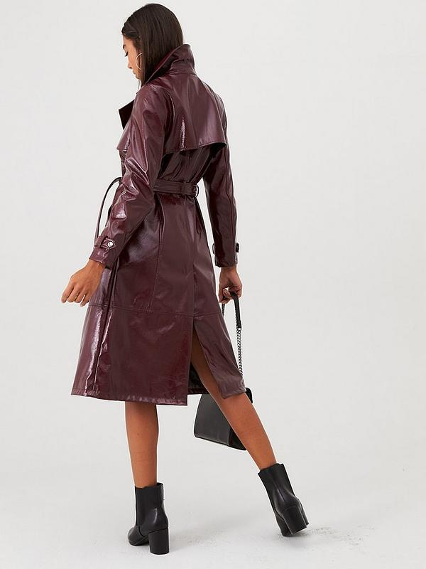 discount shop lace up in best choice Vinyl Trench Coat- Berry
