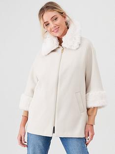 river-island-river-island-faux-fur-trim-zip-front-coat-beige