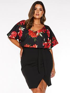 quiz-curve-quiz-curve-black-and-red-floral-batwing-wrap-midi-dress