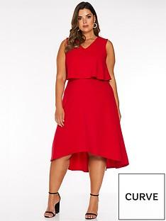 quiz-curve-quiz-curve-v-neck-overlay-dip-hem-midi-dress
