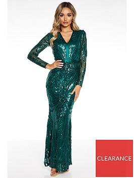 quiz-sequin-long-sleeve-v-neck-fishtail-maxi-dress-green