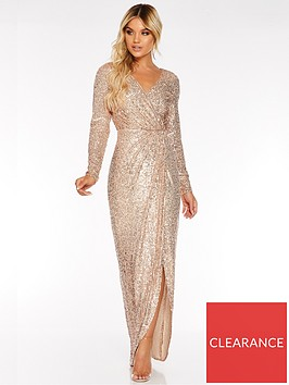 quiz-sequin-long-sleeve-wrap-maxi-dress