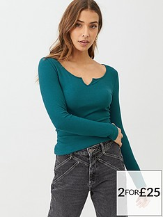 v-by-very-the-essential-notch-neck-long-sleeve-rib-top-teal