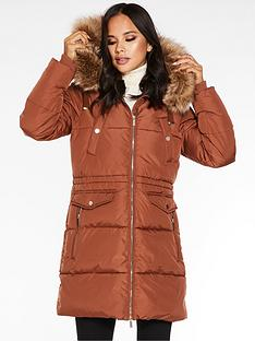 quiz-quiz-padded-34-length-hooded-fur-trim-jacket