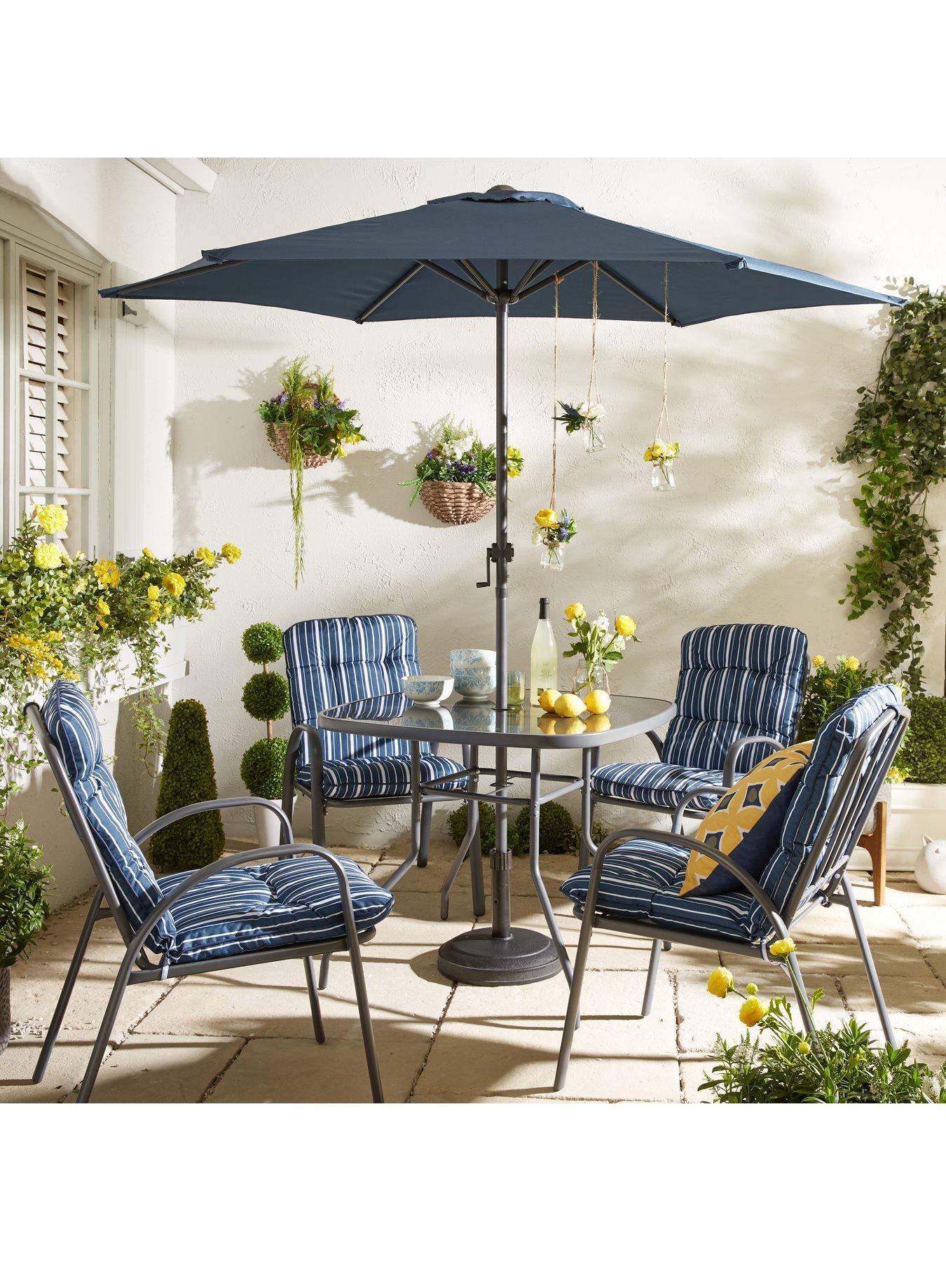 Outdoor Patio Dining Sets 6//8 Piece Textilene Grey Garden Table Chair Umbrella~~