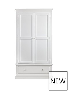 Julian Bowen Clermont 2 Door, 1 Drawer Wardrobe - White