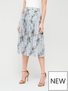 ted-baker-estie-highland-jersey-pleated-skirt-grey