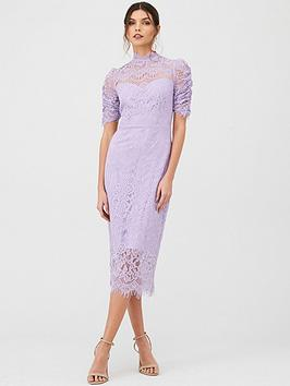 v-by-very-lace-ruched-sleeve-midi-dress
