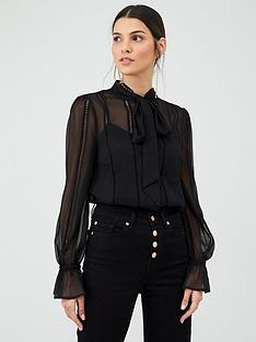 v-by-very-ladder-trim-pussybow-blouse-black