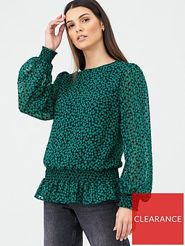v-by-very-shirred-hem-blouson-blouse-green