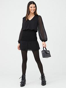 v-by-very-dobby-shirred-waist-dress-black