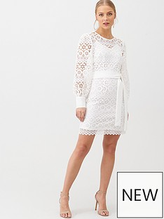v-by-very-lace-balloon-sleeve-tie-mini-dress-white