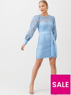 v-by-very-lace-balloon-sleeve-tie-mini-dress-blue