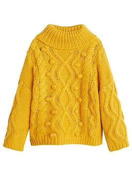 mango-girls-roll-neck-cable-knit-jumper-yellow