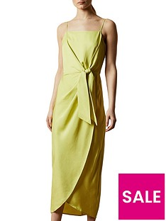 ted-baker-knot-detail-drape-dress-lime