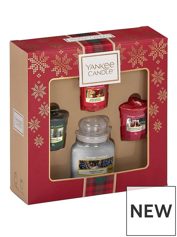 Christmas Gift Sets.3 Votive And Small Jar Candle Christmas Gift Set